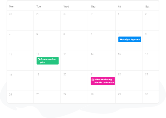 Project management calendar