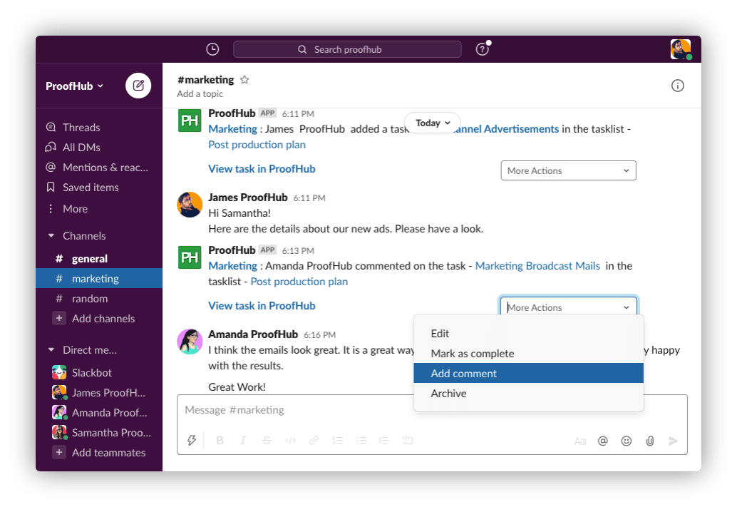 Get Your Team On The Same Page with ProofHub and Slack Integration