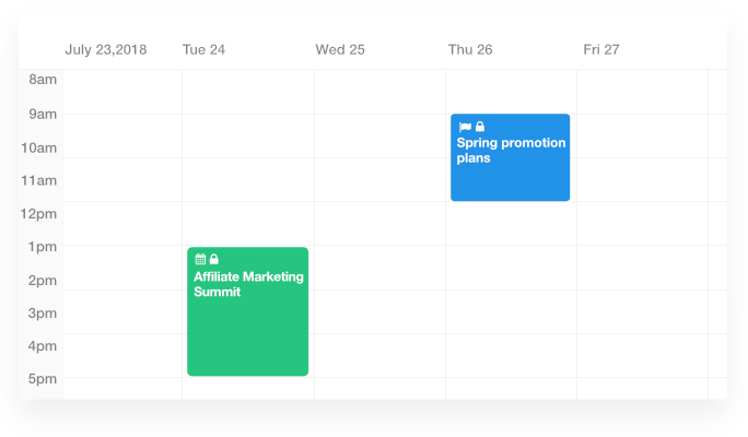 Create private milestones and events with project management calendar