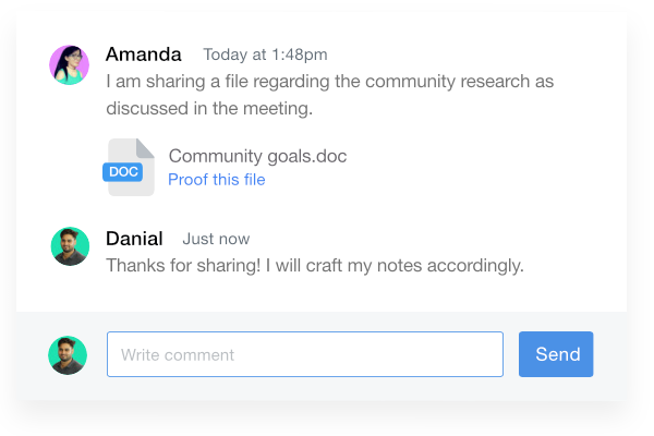 Attach files to comments in notes
