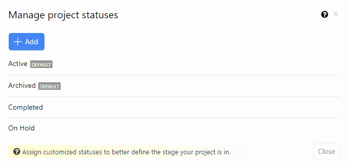 Manage Custom Project Statuses