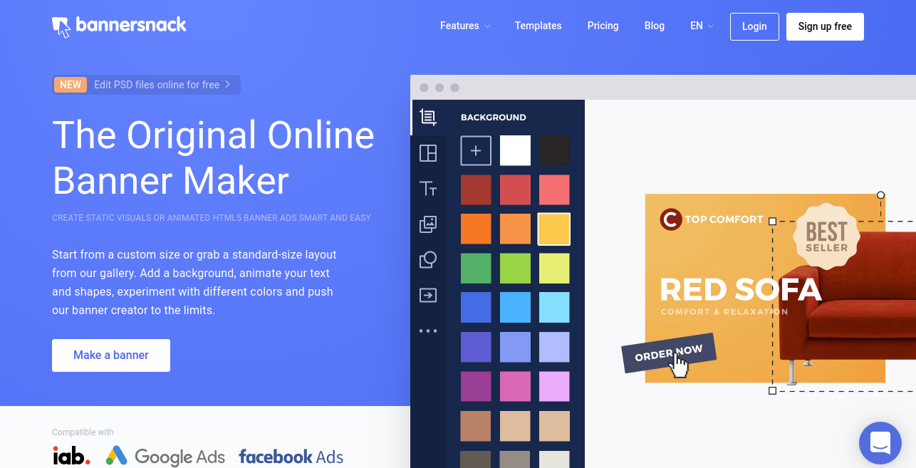 Bannersnack designer tool for graphic designer
