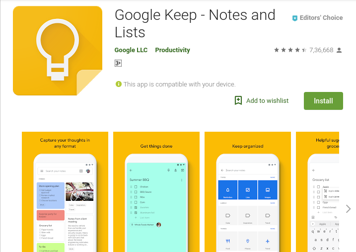 Google Keep, simple to do list apps