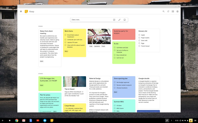 Google Keep as android productivity app