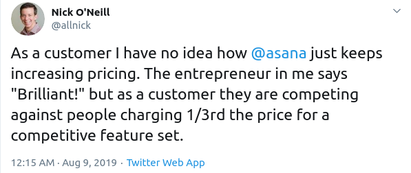 Asana pricing reviews
