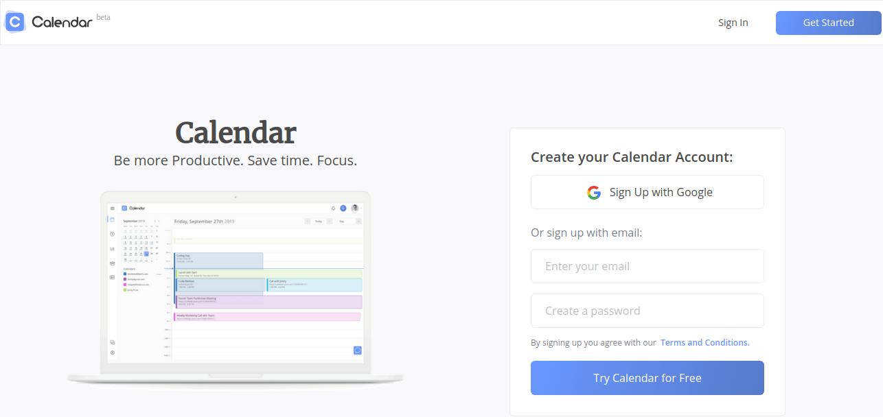 Calendar for marketing team to maximize their productivity