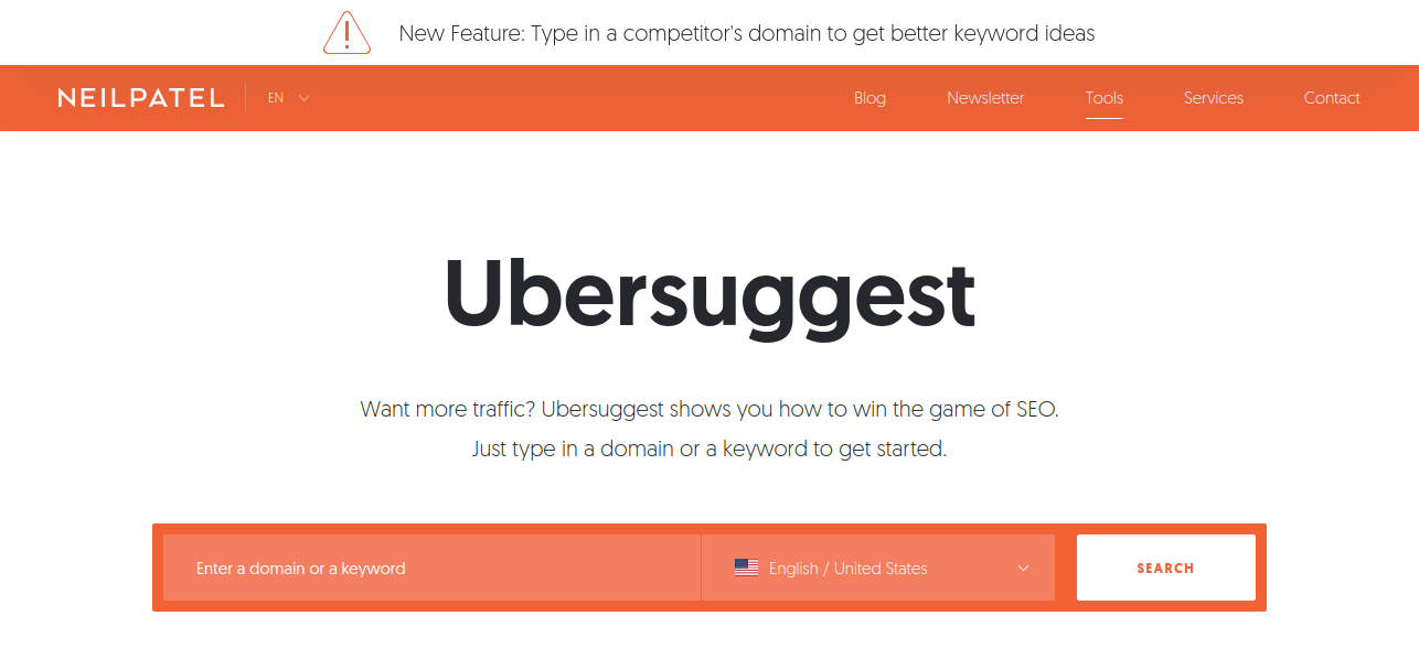 Ubersuggests to discover lot of keywords for marketing team
