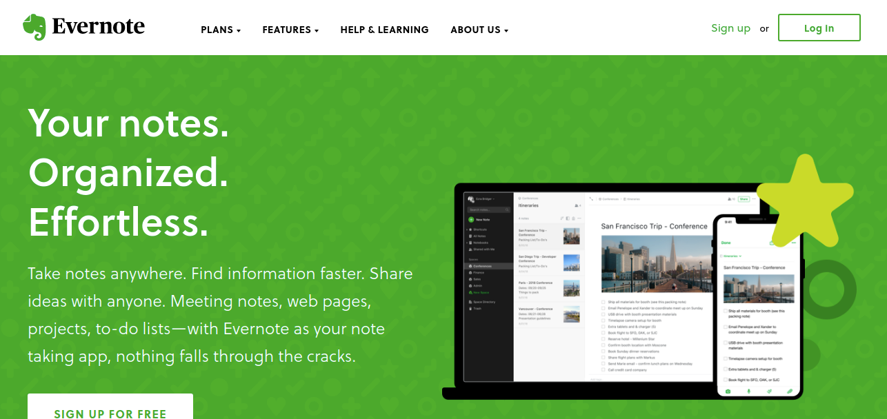 Evernote as note taking app