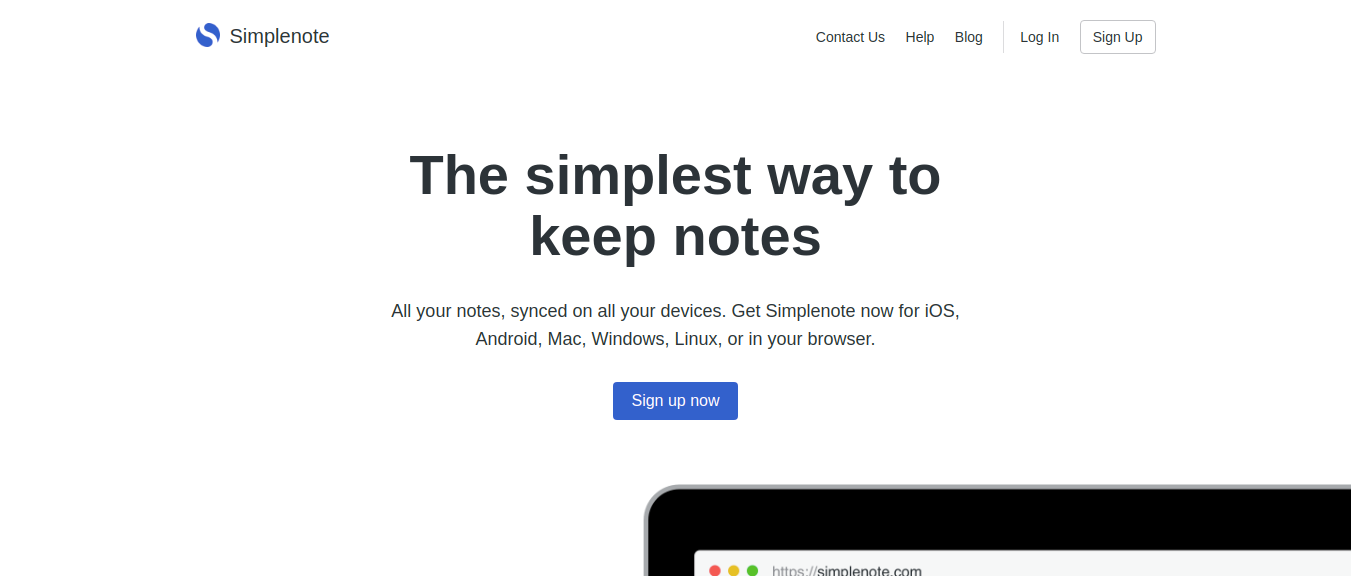Simplenote as note taking app
