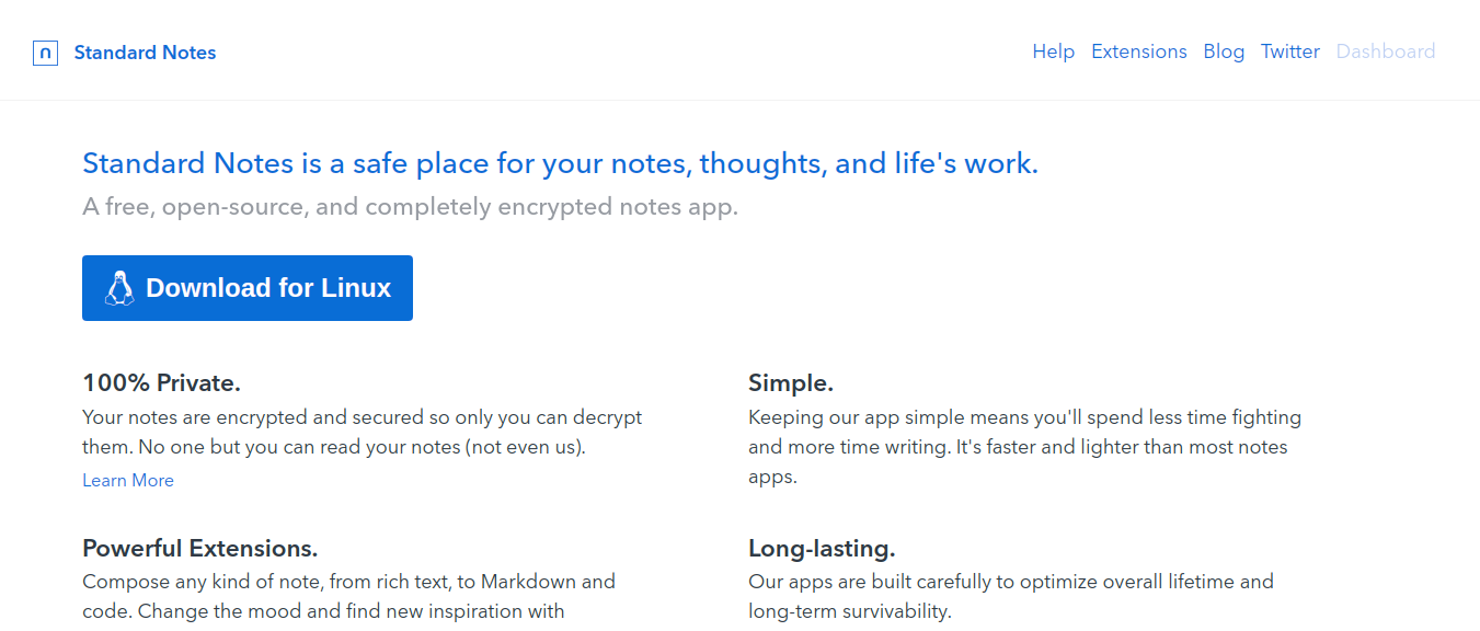 Standard Notes as note taking app