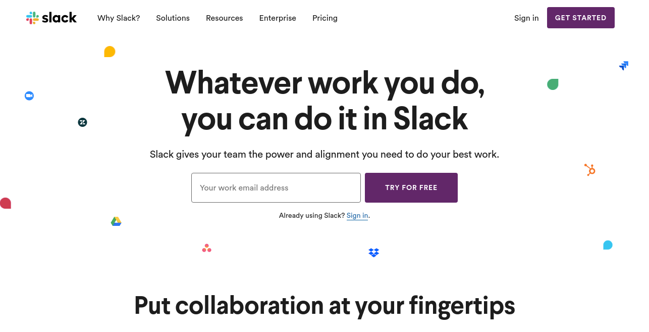 Slack as productivity app