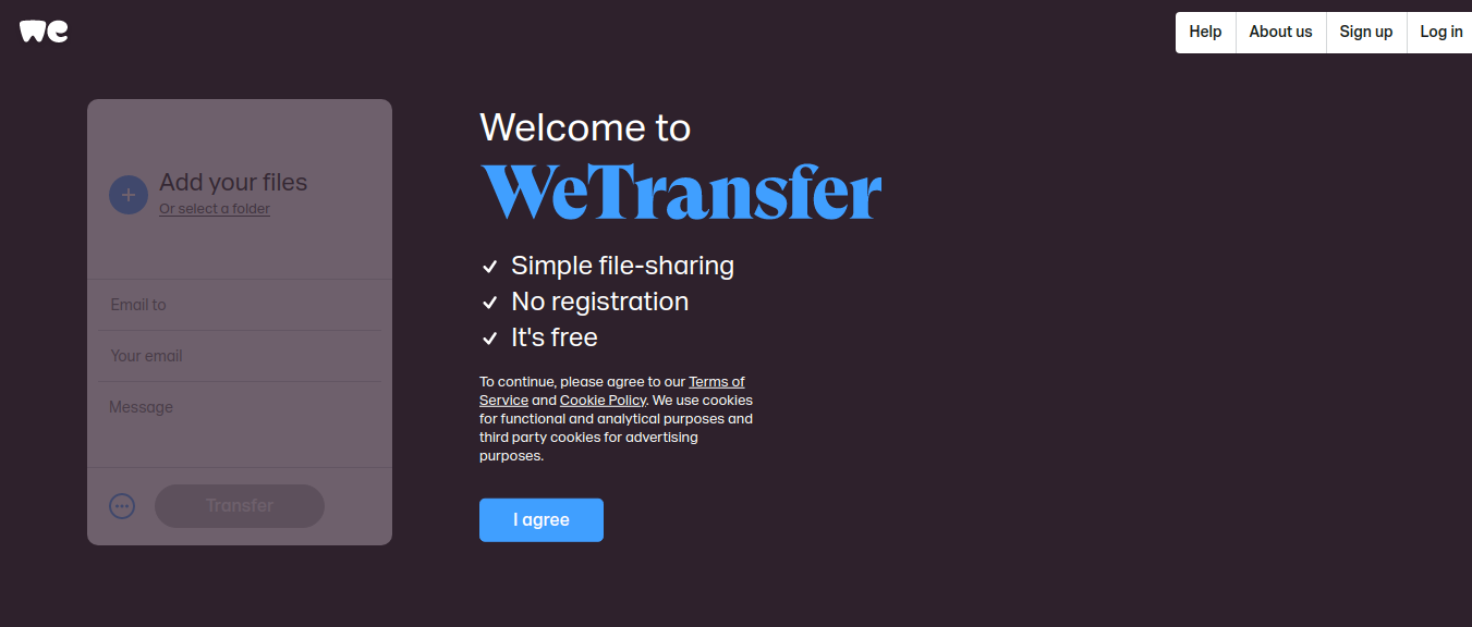 We transfer tool to share your files