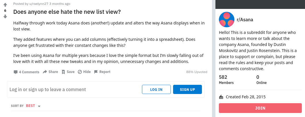 Asana new list view review