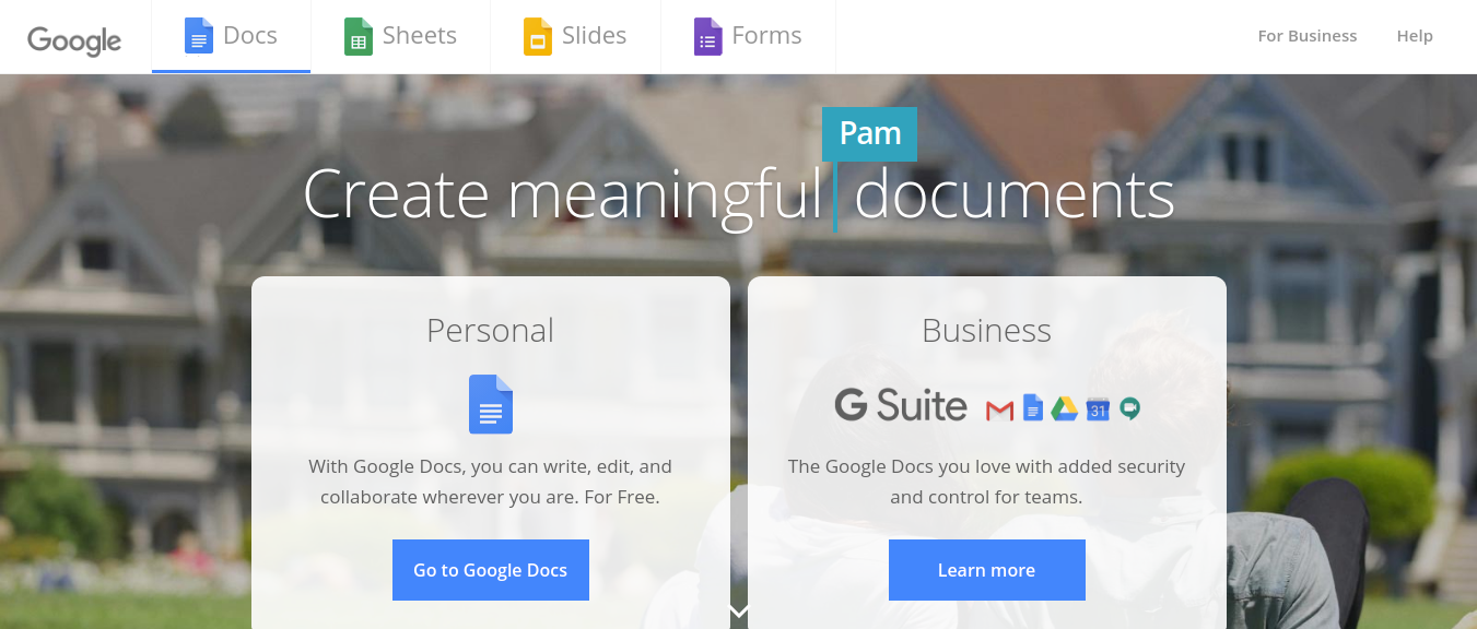 Google document as productivity tool