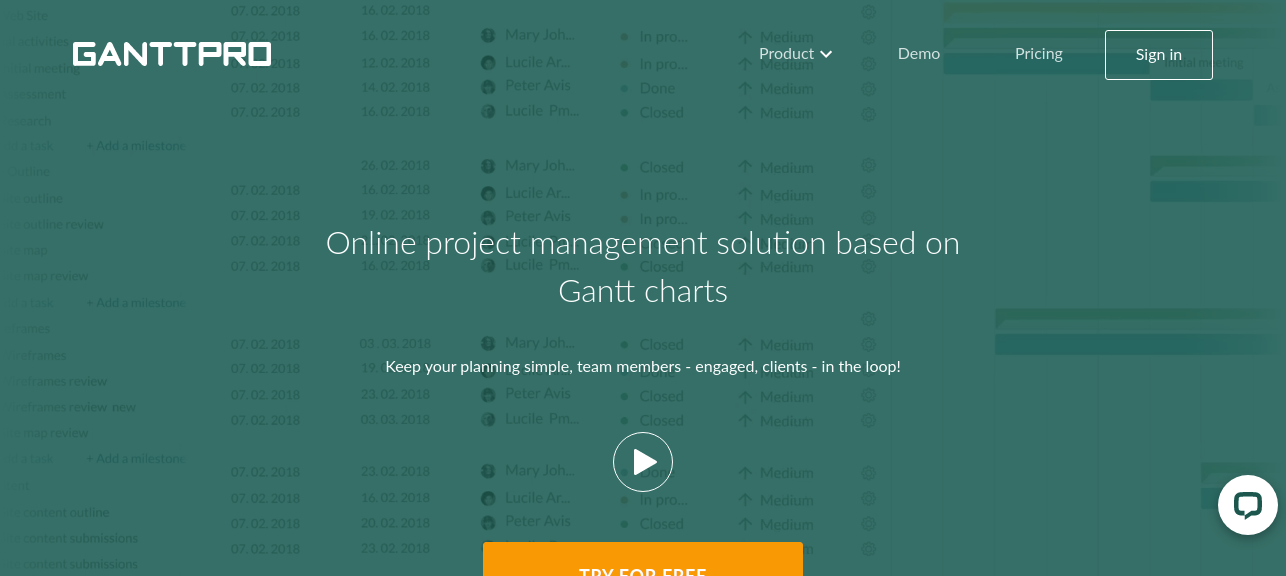 Gnattpro as gantt chart tool