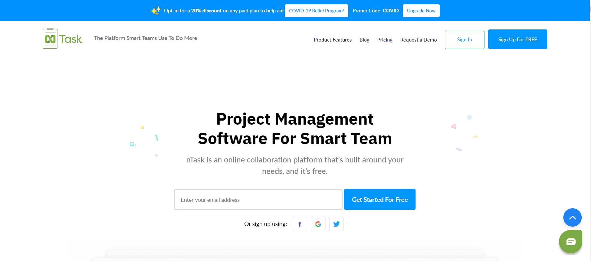 Free online project management software system ntask