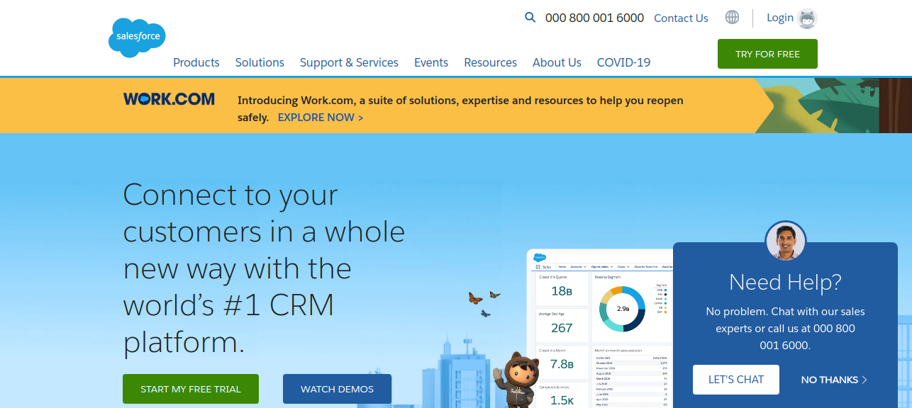 Salesforce (Custom Relationship Management)  as Saas application