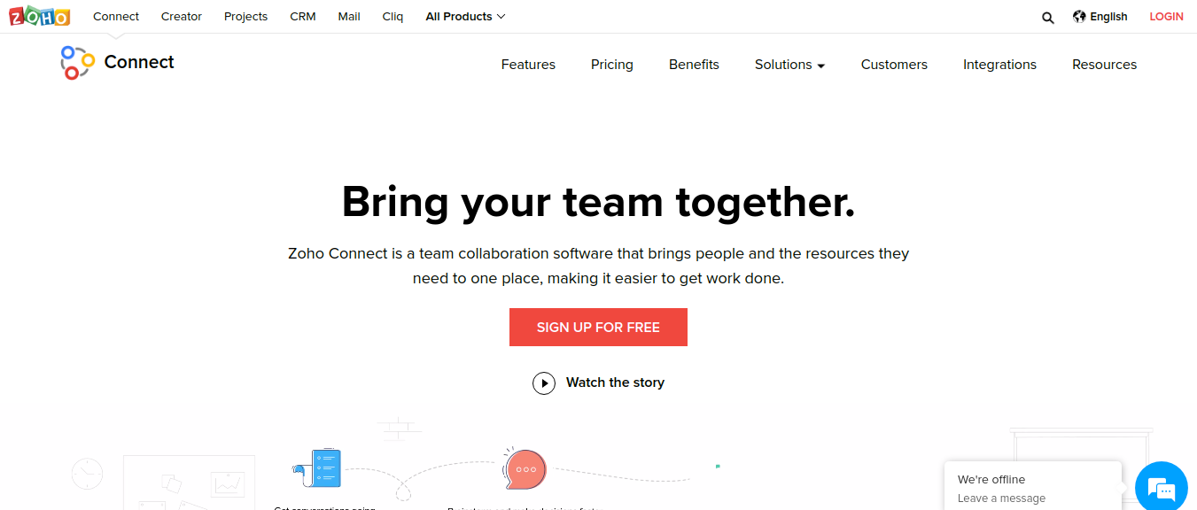 Zoho Connect as competitor to microsoft teams