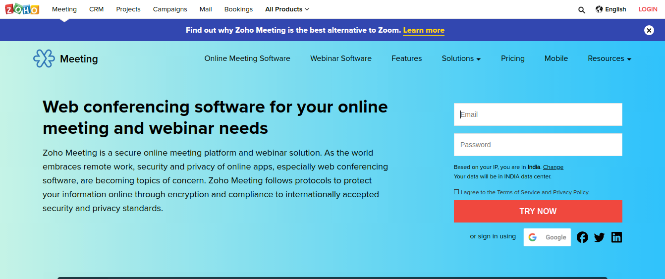 Zoho Meeting as a alternative to zoom