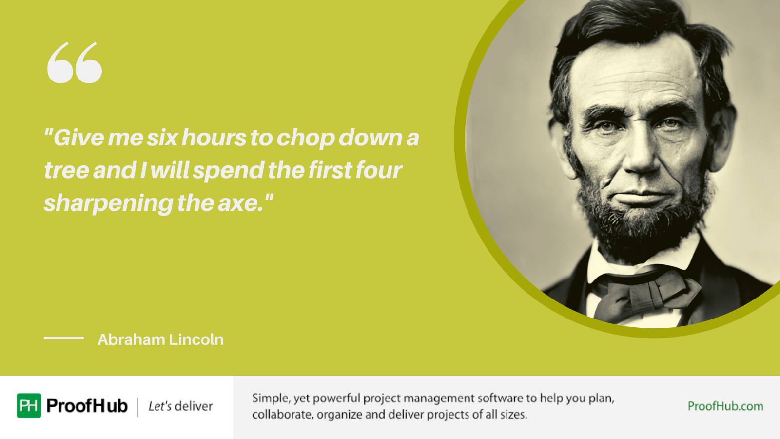 Give me six hours to chop down a tree and I will spend the first four sharpening the axe Quote by Abraham Lincoln