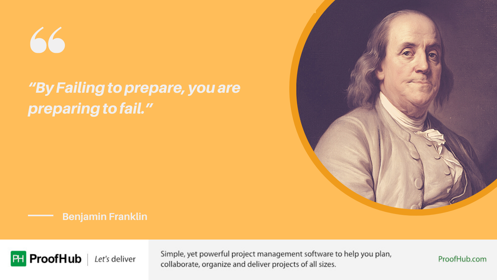 By Failing to prepare, you are preparing to fail quote by Benjamin Franklin