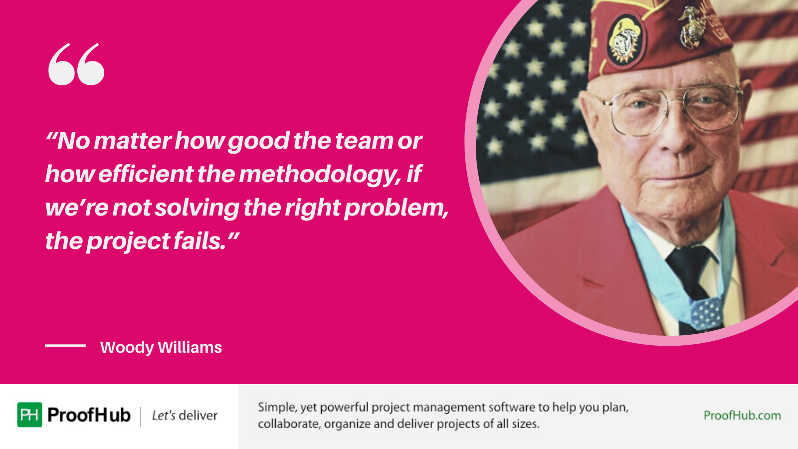 No matter how good the team or how efficient the methodology, if we're not solving the right problem, the project fails quote byWoody Williams