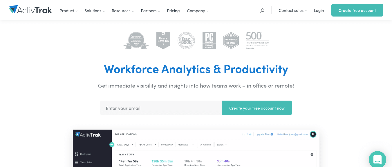 ActivTrak productivity tool for marketing tools