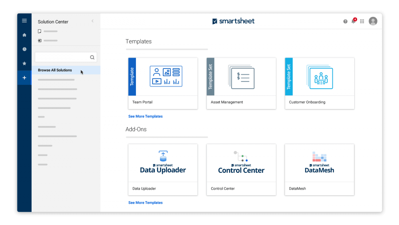 smartsheet as product management tool