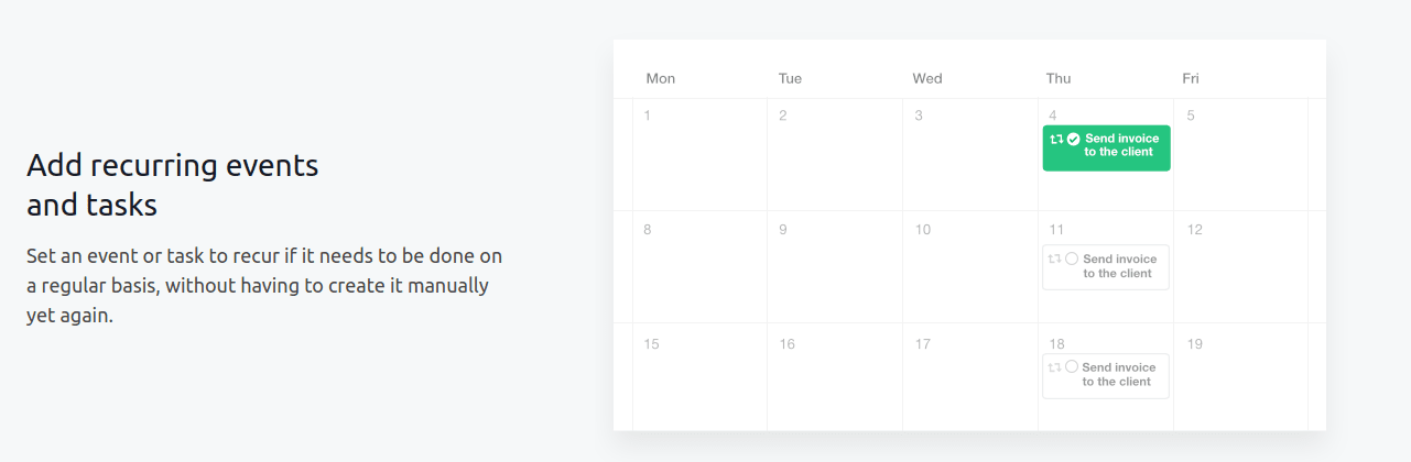 recurring tasks and events