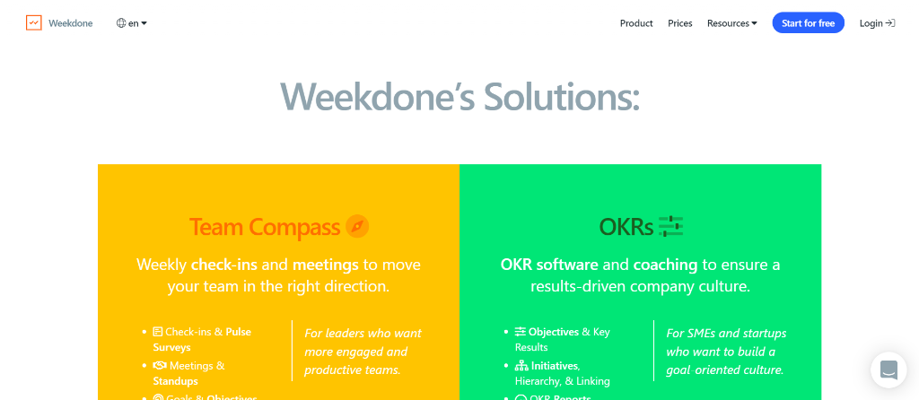Weekdone for OKR Management